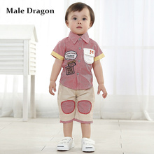 cheap baby boy clothes kids shorts baby boy plaid clothing suit children clothing boutique summer turn down collar blouse suits(China)