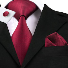 SN-296 Formal Deep Red Solid Tie Hanky Cufflinks Sets Men's Silk Ties for Wedding Business Dating Party Groom(China)