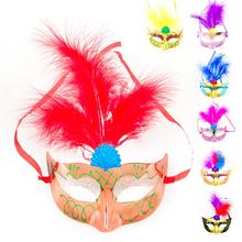 Halloween Masquerade Cosplay Feather Masks Women Mask Upper Half Face Adults Plastic Masks For Patry Halloween Decoration