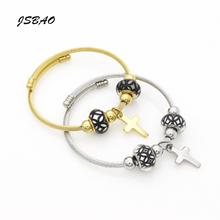 JSBAO New Arrival 2 Size Women Cross Jewelry High Quality Stainless Steel Wire Armoured Cuff Bracelet Love Bracelet Bangle(China)
