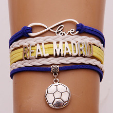 Drop Shipping Infinity Love Real Madrid Bracelets Soccer Charm Braided Bracelet & Bangles Leather Jewelry For Women Men