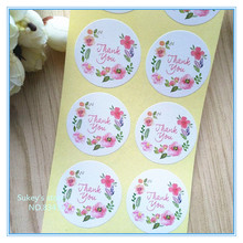 "160pcs/lot circular DIY stickers ""Thank you"" sealing packaging sticker baking package cake box party decoratie"