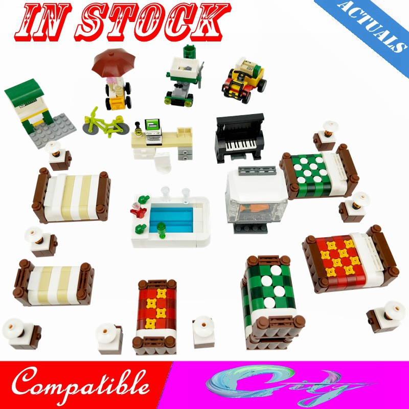 Creator City Bed Sofa Piano Computer Desk Car Station Scenes Figures Building Block MOC Accessories Parts Toy For Kid Cities Kit