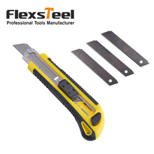 Flexsteel Best Pocket Quick-Change Box Cutter Knife Plastic Utility Knife with High Carbon Steel Retractable Spare Blades