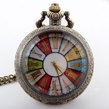 Free shipping Vintage Bronze Colorful Dial Rome Number Women Quartz Pocket Watch Necklace P193