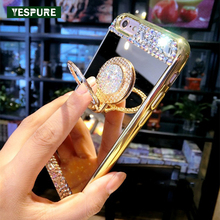 YESPURE Mirror Phone Accessories Finger Ring for Iphone 6/6s Gold Cheap Cute Cell Phone Cases Mobile Phone Bling Women Covers(China)