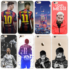 Phone Case for iphone 7 6 plus 5s 6s SE 5 Ronaldo Messi Neymar Jersey Barcelona Soccer Soft Transparent Silicone tpu Clear Slim(China)