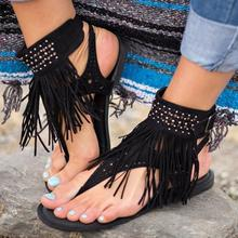 Women Summer Outdoor Tassels Flat Sandals Girls Beach Wearing Toes Flip Flops Sandals
