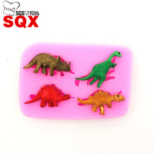 4PCS Dinosaur Shaped Silicone Cake mold Cake Decorating Tools 3D Soap Molds Sugarcraft Tools Kitchen Accessories LH15(China)