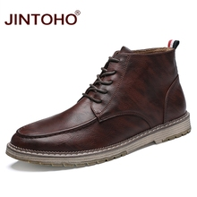 JINTOHO 2018 새 Genuine Leather Men Boots Winter Men 가죽 Ankle Boots Brand 남성 가죽 Boots 캐주얼 겨울 가죽 Shoes(China)
