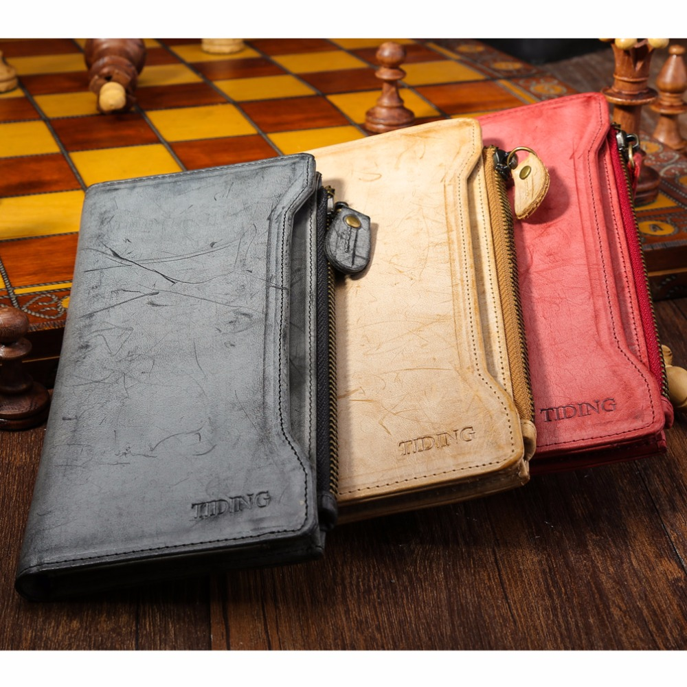 TIDING English Bridle Leather Wallets Unisex Cow Leather Clutch Bag Ladies Men Purses Travel Organizer for iPhone 4185<br>
