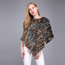 2017 Women Pullover Pashmina Fur Shawl Real Rabbit Fur Wraps Knitted Fur Poncho Scarves And Stoles Women Scarf Cape Coat H181(China)