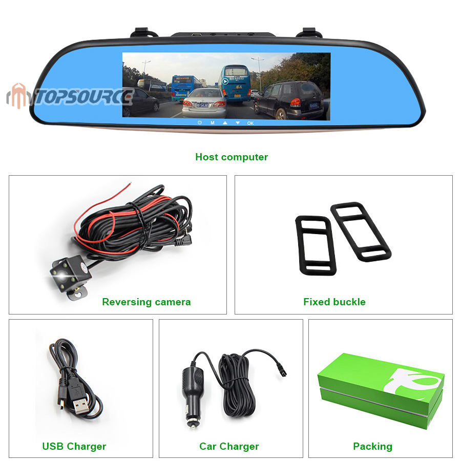 """TOPSOURCE Auto GPS ANDROID 5.0 1G/16G 3G 7"""" IPS Car DVR Mirror Camera Dual Lens 1080P Video Recorder Dash Cam Parking Monitor 22"""