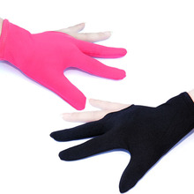 Wholesale 10 Pcs/lot Cue Billiard Pool Shooters Gloves 3 Fingers Left Hand Snooker Accessories Black/Pink(China)