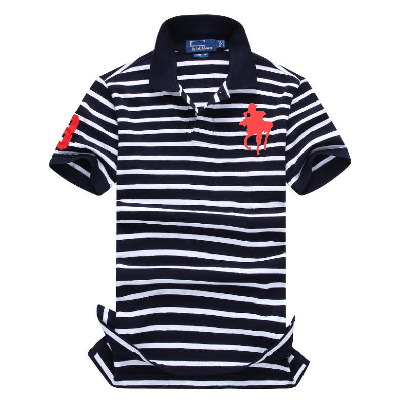 2019 Famous Brand striped polo shirt cotton mens polo shirts with short sleeve big horse logo polo homme de marque haute qualite