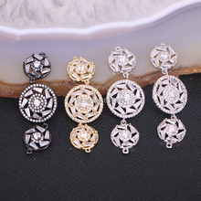10PCS Zyunz Jewelry Link Connector Micro Pave White CZ Zirconia round flower connector beads Jewelry findings(China)