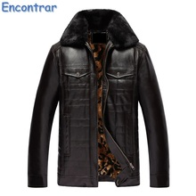 Encontrar 2017 New Winter Thick Leather Garment Men Casual Flocking Leather Jacket Men's Warm Leather Jacket Male ,QA361(China)