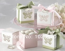 Wedding Favor Laser-cut Butterfly Favor Boxes Ribbons and Metal Butterfly Pendant Included 100PCS/LOT(China)