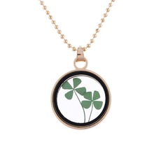Dried Flower Clover Floating Locket Memory Living Pendant Necklace Gold Color Jewelry Real Plant Flower  Chain Neckalces