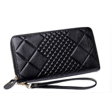 2017 European women wallet and purse card holder wallet female leather long plaid embossed wallet money bag mobile phone bag(China)
