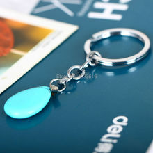 Keyring Water Drop Blue Turquoisa Bullet Women Party Dress Keychain Natural Quartz Healing Stone Charm Best Jewelry