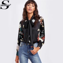 Sheinside Black Flower Print Self Tie Bow Satin Blouse Women Long Sleeve Tunic Blouse Autumn 2017 Elegant Work Wear Blouse(China)
