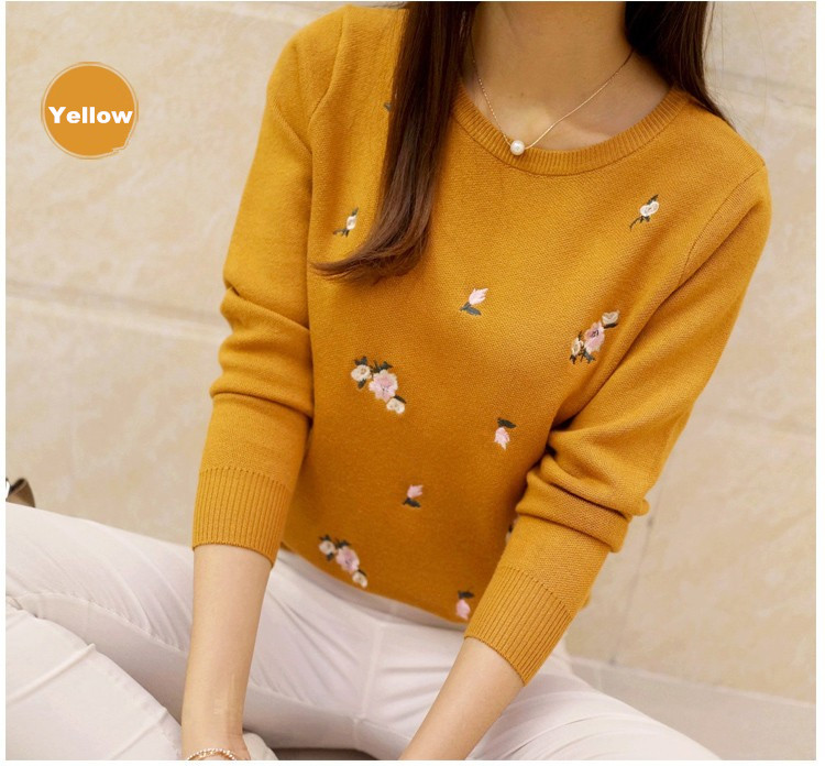 S-3XL New Youth Women's Sweater Autumn Winter 17 Fashion Elegant Peach Embroidery Slim Girl's Knitted Pullover Tops Female 12