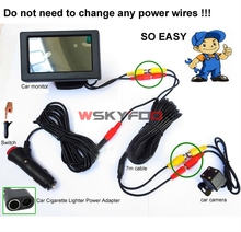 "2n1 Auto Car Parking System 4.3""LCD Monitor With 4LED Car Rear View Camera Cigarette Lighter Power RCA Video Cable kit(China)"
