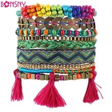 Bonsny Autumn Winter Handmade Bracelet Women Bohemian Brand Bangle Weave Fashion Bracelets 2016 News  Jewelry For Girl