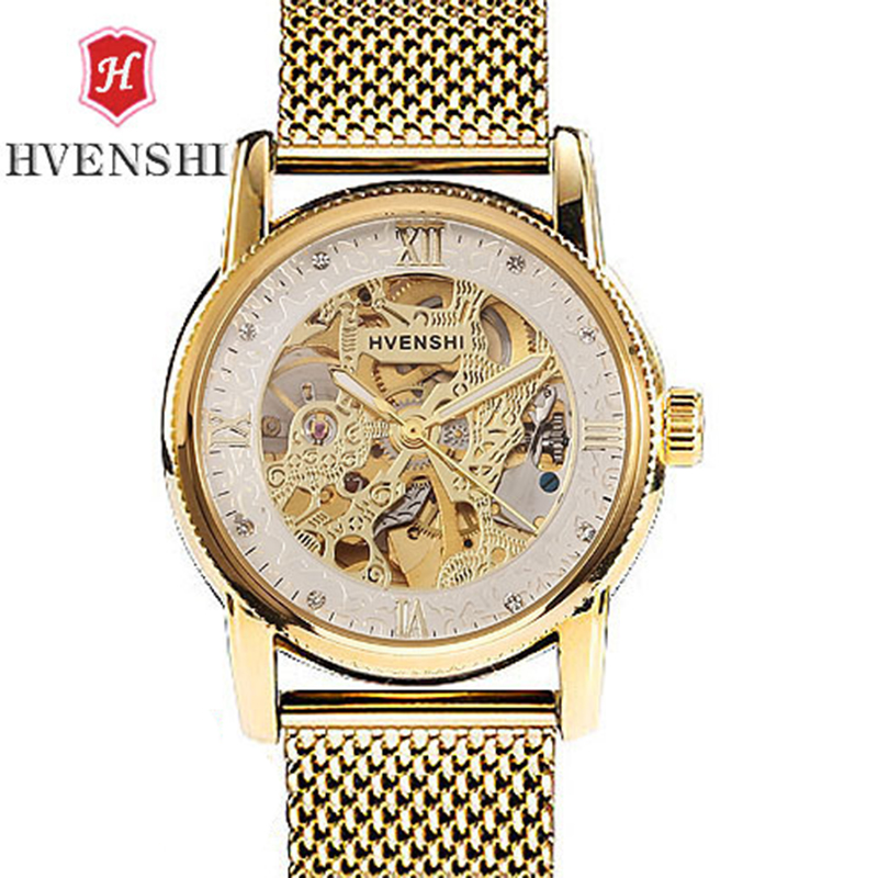 HVENSHI Automatic Mechanical Watch Mens Hollow Skeleton Handle Diamond Grid Steel  Luminous Waterproof Classic Watch<br>