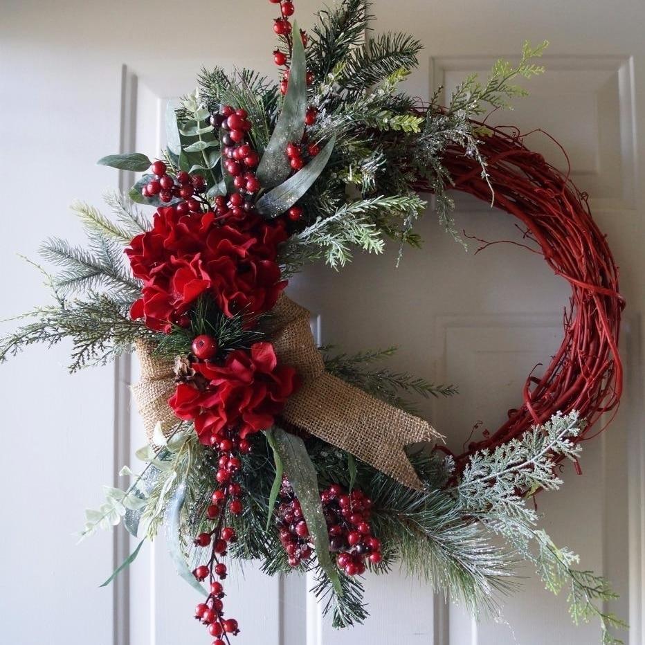 Christmas wreath, Red Rustic Christmas Wreath, Christmas Decoration