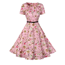 Vintage Tunic Dress Women Short Sleeve 1950s Retro Audrey Hepburn Rockabilly Swing Dress Floral Print Fit and Flare Vestidos(China)