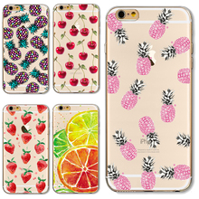 For iP7 Soft TPU Cover For Apple iPhone 7 Cases Phone Shell Painted Pretty Top Delicious Fruit Nice Pink Pineapple