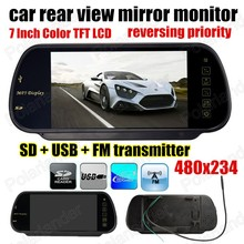 7 Inch Color TFT LCD 480x234 MP5 SD USB FM transmitter Car Rear View Mirror Monitor Parking Monitor reversing priority(China)