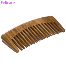 Pure natural green Sandalwood Hand Massage Comb wood anti-static, easy to carry beard comb and hair styling tool