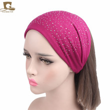 Women Wide Fabric Headband Dance Headband Cotton Stretch Hairband Rhinestone Hair Bands Elastic Hair Band Turban(China)