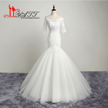 Buy New Cheap Mermaid Lace Wedding Dresses 2017 Shoulder Scoop Neck Lace Beaded Applique Sweep Train Tulle Bridal Gown for $168.00 in AliExpress store