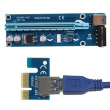 PCIe PCI-E PCI Express Riser Card 1x to 16x USB 3.0 Data Cable SATA to 4Pin IDE Molex Power Supply
