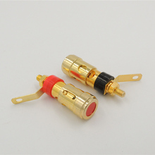 20PCS Gold Plated Speaker Binding Post Insulator AMPLIFIER AUDIO spring Lock loaded Press terminal 4 mm Connectors(China)