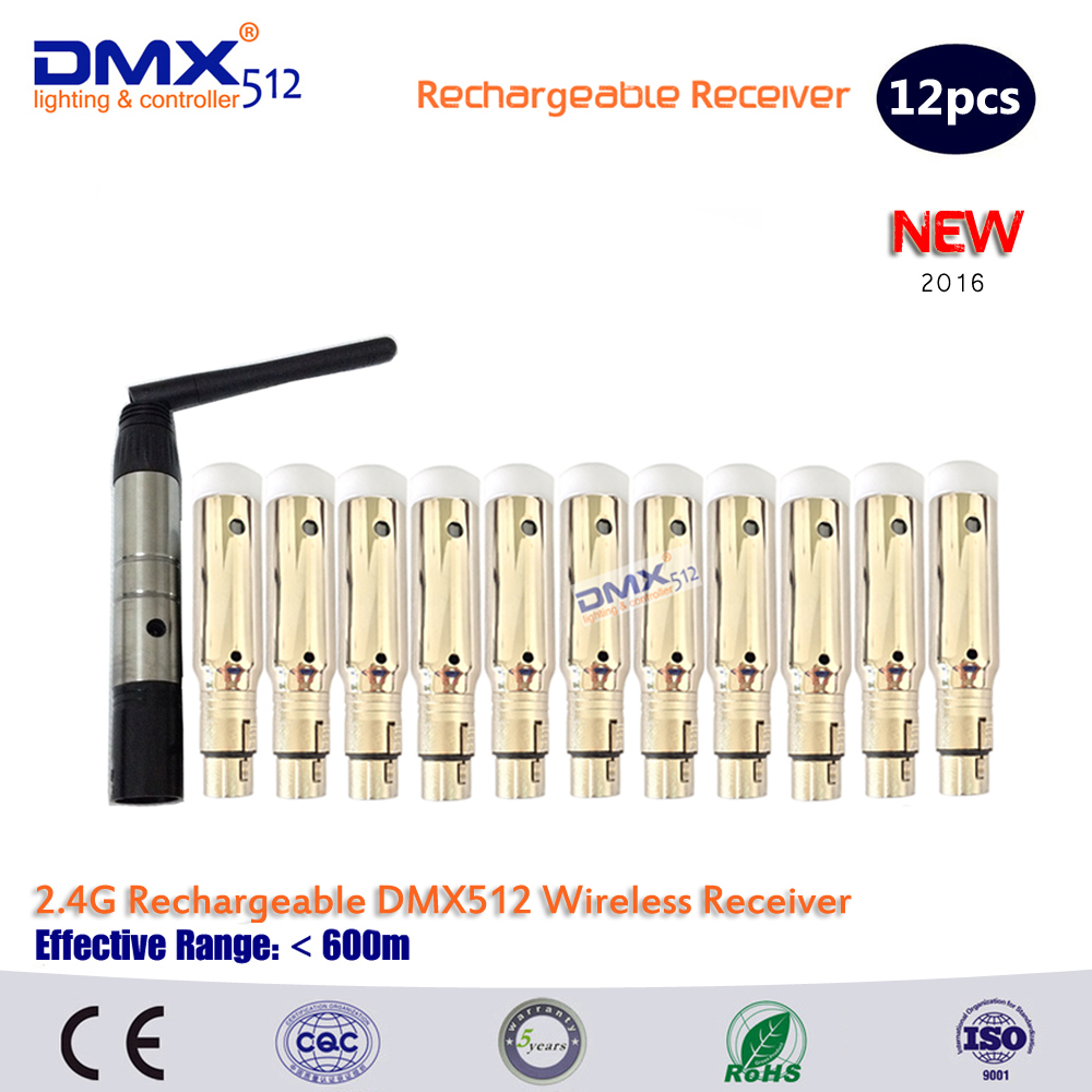 Built in rechargeable battery 2.4ghz Wireless Dmx512  Receiver for stage lighting DHL Free shipping<br>