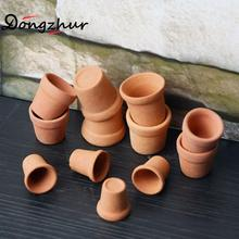 12pcs/set Red Pottery Pots Miniaturas 1:12 Dolls House Furniture 3D DIY Juguetes De Madera Dollhouse Accessories Toy House Pot(China)