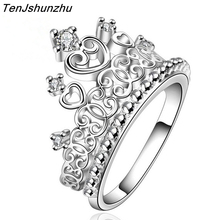 925 Sterling Silver Princess Queen Crown Engagement Ring with Clear CZ Authentic Sterling-Silver-Jewelry jz160(China)