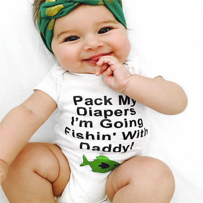 Baby Girls Boys Girls Infant Letter Fish Short Sleeve Clothes Jumpsuit Romper NDA84L09 (8)