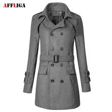 2017 Autumn Cool Mens Long Coats Double Breasted Overcoats Double Breasted Men Wool Coat Business Casual Trench Coat Men