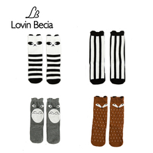 LOVIN BECIA  children's cotton warm long socks newborn anti slip cute for boy girls baby kid knee high infant funny sock