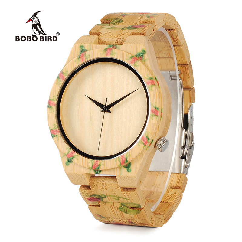 BOBO BIRD Bamboo Wood Men Luxury Watch With Engrave Flower Bamboo Band Quartz Casual Women Watch In Gift Box<br>