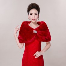 2016 Hot Selling High Quality Fall Winter Red with Diamonds Wedding Shawls Handmade Wedding Accessory