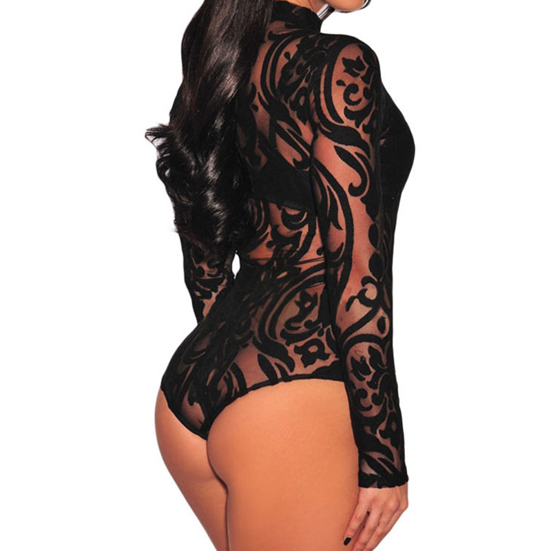 Bodysuit Women Rompers Lace Bodysuit 2018 New Spring Mesh Long Sleeve Sexy Black Stretchy Turtleneck