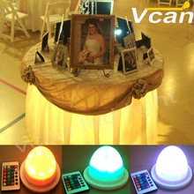 DHL Free Shipping Super Bright RGB 16 Colors Remote Control Cordless Under Table Light For Wedding Event(China)