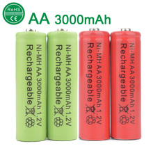 New 4pcs/lot AA Battery 3000mAh Rechargeable Battery NI-MH 1.2V Rechargeable 2A Baterias for camera head lamp toys(China)